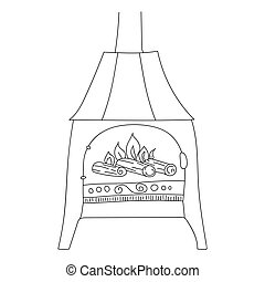 Fireplace in Scandinavian style on legs with decor. Fire is burning in the fireplace. Cozy European hyugge. Hand drawn line art illustration for your design. Isolated line on white background.