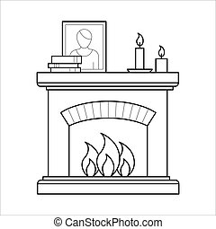 Fireplace in thin line style.