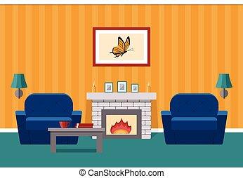 fireplace., lebensunterhalt, graphic., vektor, zimmer