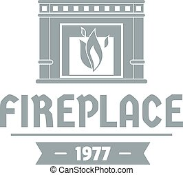 Fireplace logo, simple gray style