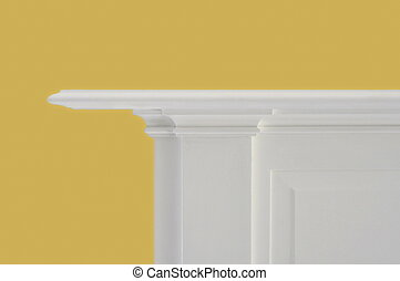 Fireplace Mantle - white fireplace mantle against bright...