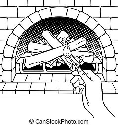 Fireplace match hand coloring book vector