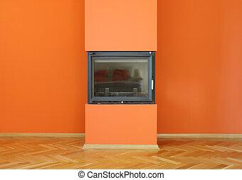 fireplace on orange wall
