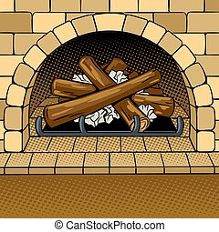 Fireplace pop art vector illustration