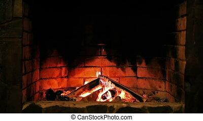 fireplace., queimadura, flame.