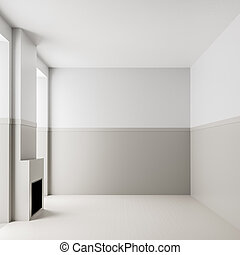 fireplace., salle, moderne, walls., 3d, clair, fond, vide, intérieur, blanc, vide, vide, illustration.