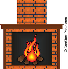 Scalable vectorial image representing a fireplace, isolated on white.