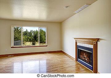 fireplace., stanza, vuoto