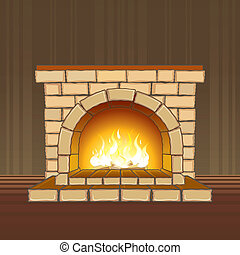 Fireplace - Stone fireplace with flame in the room