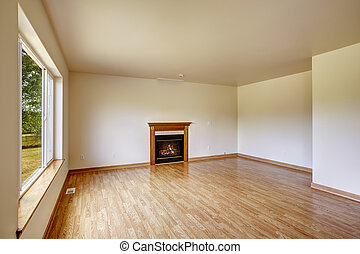 fireplace., szoba, üres