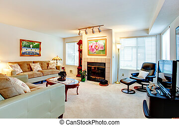 fireplace., szoba, eleven
