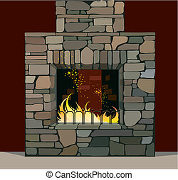 Vector illustration of fireplace with burning fire