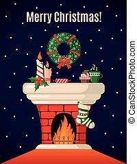 fireplace., weihnachtskarte