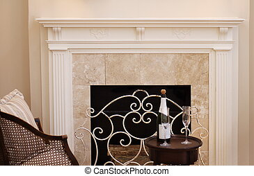 Fireplace - white fireplace mantle