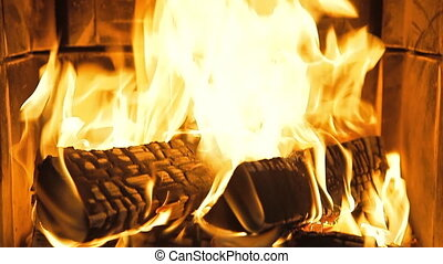 Fireplace with burning fire - Firewood is lying in the...