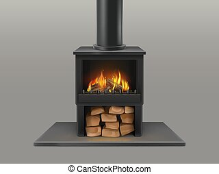 Fireplace with burning firewood inside vector