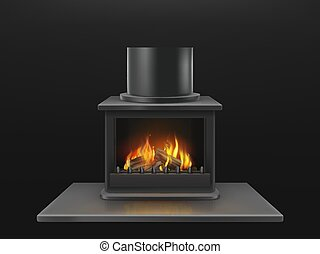 Fireplace with burning firewood realistic vector