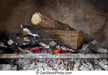 fireplace with burning wood logs