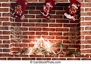 Fireplace with christmas hanging socks