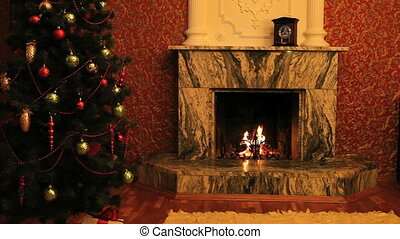 Fireplace with Christmas-tree near by