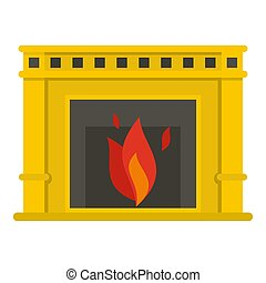 Fireplace with fire burning icon isolated