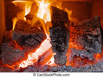 Fireplace with flame fire ashes