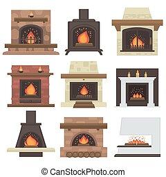 fireplaces., ベクトル, セット, 家