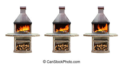 Fireplaces with burning firewood