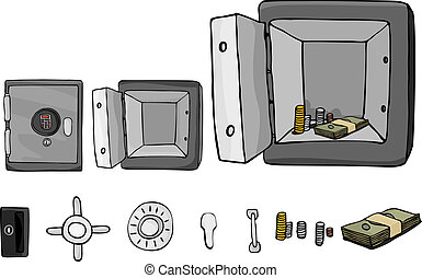 Fireproof Safe With Parts - An open or closed vault with...