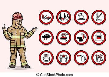 fires., feuerwehrmann, warnt, gehäuse, über