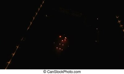 Fireshow at night aerial shot