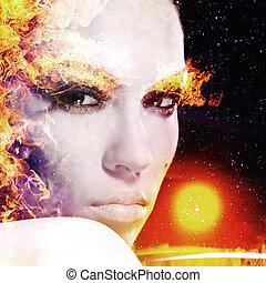 firestarter., abstract, vrouwlijk, verticaal