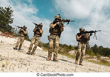 US Army Rangers in the desert - Fireteam of US Army Rangers...