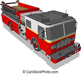 firetruck, イラスト, 白, ベクトル, バックグラウンド。