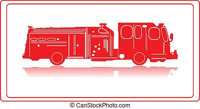 Firetruck. - A firetruck in red silhouette.