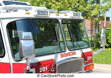 firetruck, con, emergencia, luces