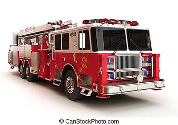 firetruck, en, un, fondo blanco