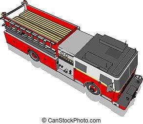 Firetruck, illustration, vector on white background.