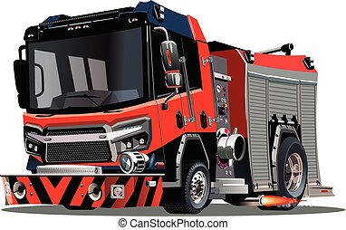 firetruck, isolado, vetorial, fundo, branca, caricatura