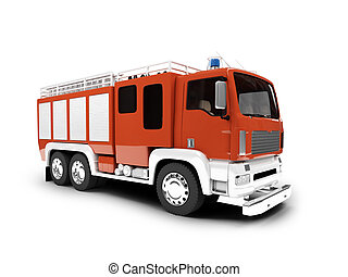 firetruck, isolato, vista frontale