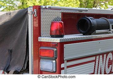 firetruck, manguera, y, emergencia, luces