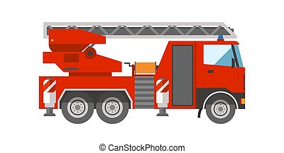 firetruck, nødsituation køretøj, redning, stige, afdeling, hjælp, transport, vektor, illustration.