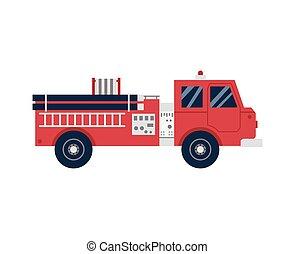 Firetruck or firefighting car cartoon icon, flat vector illustration isolated.