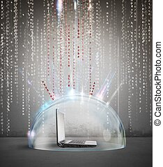 Firewall and antivirus concept with a laptop inside a...