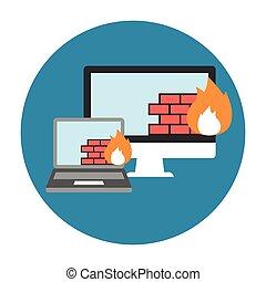 firewall, apartamento, ícone