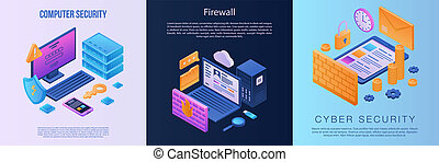 Firewall banner set, isometric style