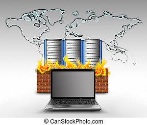 firewall, bescherming, internet
