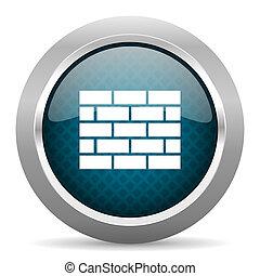 firewall blue silver chrome border icon on white background
