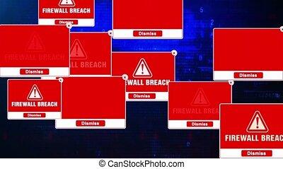 Firewall Breach Alert Warning Message Windows Errors Pop-up Notification Dialog Box Blinking Virus. After Login And Password on Digital Glitch Computer Monitor screen 4k.