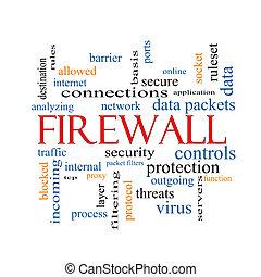 firewall, conceito, palavra, nuvem